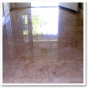 Marble floor after cleaning , honing and polishing