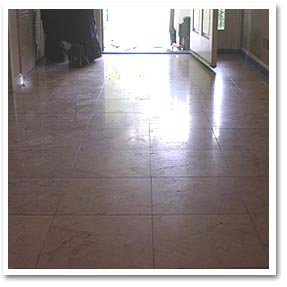 Marble floor before honing and polishing